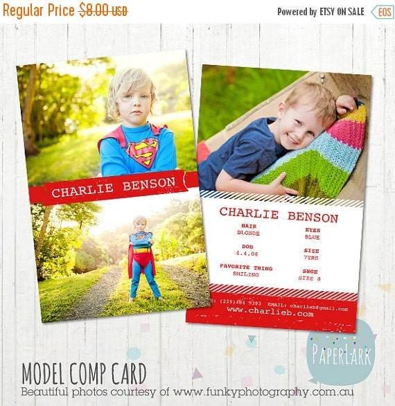 on sale model comp card photoshop template am002 instant