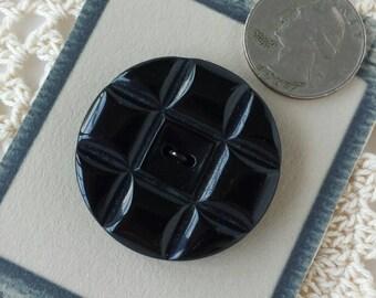 Large Stylish Black Plastic Button
