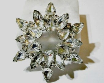 Large Pin Brooch Vintage Rhinestone Starburst Shapes Juliana Style Pin D and E 1970's or Older