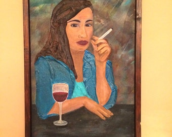 Woman at the bar 39 x 54 cm acrylic paint and fabric paint on wood house warming gift