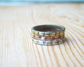 Set of three rings - silver, copper, brass ring - triple ring