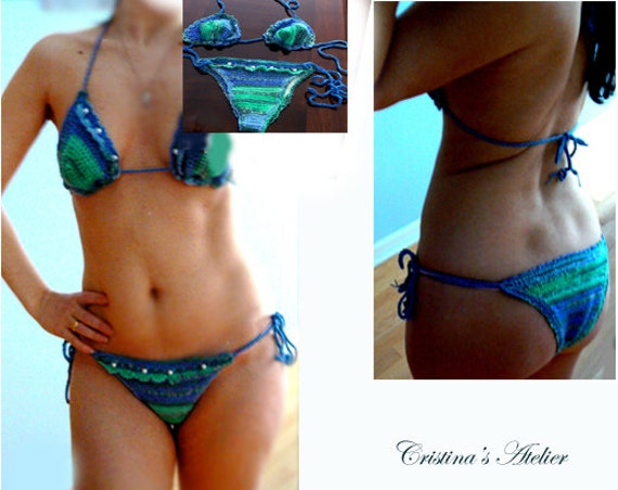Blue crochet brazilian bikini set. Jade crochet bikini. Boho crochet bikini. Handmade pearls crochet bikini. Mermaid swimsuit.Fashion bikini