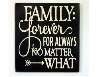 Family forever for always no matter what wood sign ready to ship