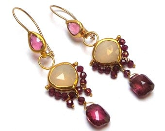 Tourmaline Earrings - Gold Earrings - 22K Gold Earrings - Chandelier Earrings - Free Shipping!!