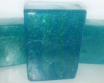 Sparkle blue soap bar, blue and green sparkle soap bar, green tea and cucumber scented soap bar ON SALE