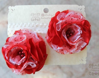 "red flower headband ""Kyla"" in red and white headband , Christmas hair bow"