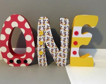 Mickey Mouse birthday letters. Custom wood letters. Wood letters. First birthday centerpiece. ONE wood decor. First birthday photo prop.