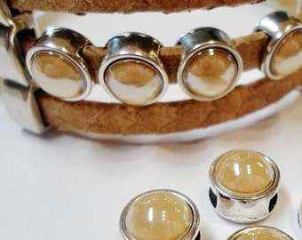 2  5mm flat Sliders, Swarovski Golden Shadow Pearl Sliders for 5mm flat leather bracelet finding, jewelry supply,