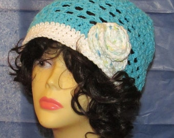 Blue Cotton Slouchy with Flower