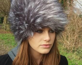 Long Silver Grey Faux Fur Russian Hat.