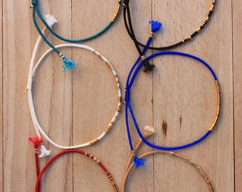 WHOLESALE  Crimp Beads  Bracelets x 24 -   Adjustable Bracelets - Friendship  Bracelets