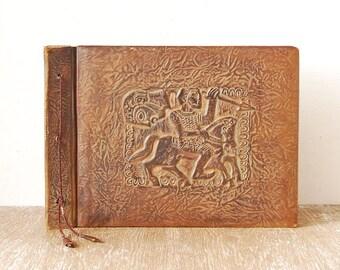 Leather Photo Album Cover, Tooled Leather Vintage Portfolio Case, Large Brown Leather Portfolio Cover