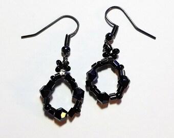 Black Crystal Earrings/ Hoop Earrings/ Black Hoops/ Crystal Earrings/ Minimalist Jewerly/ Small Loop Earrings/ Black Crystal Jewelry