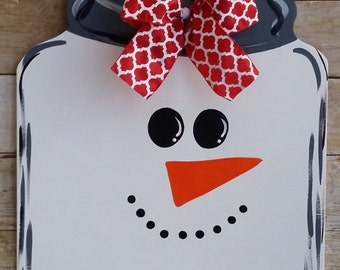 Mason Jar Snowman Door Hanger, Snowman Door Decoration, Snowman Wreath,  Winter Door Hanger