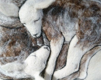 "Felted wall hanging ""Lambs"". Original wool painted picture. Wall decor. Home decor. Wedding gift. Needlefelted. Animal. Lamb. Ready to ship"