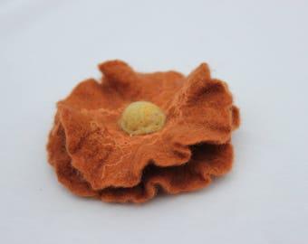 felted flower, woolen accessory,pink
