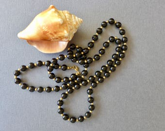 Vintage Monet Black Acrylic & Gold Tone Beaded Necklace / Classic Monet Necklace / 30 inches