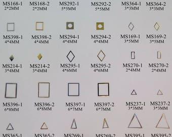 100pcs Gold&Silver Soft Metal Parts Nail Art Metal non-adhesive sticker Square Diamond Rectangle Triangle Geometry Series