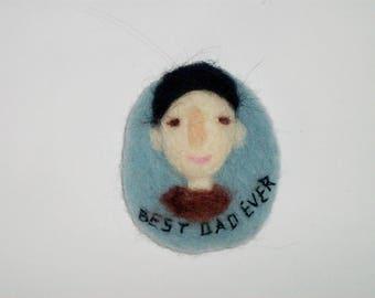 best dad ever felt brooch, father gift