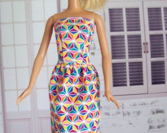 Handmade, Barbie clothes, sheath dress, retro dress, geometric dress, Barbie dress, Barbie sheath, fashion doll clothes, doll dress