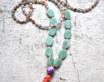 mixed gemstone + pink tassel mala beads