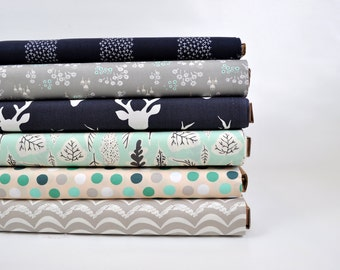 Navy Blue, Gray and Aqua Fabric Bundle from Art Gallery.  Deer Buck with grey and aqua. 100% cotton. Select Your Length