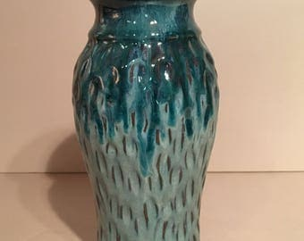Turquoise Blue Vase / Handmade Carved Ceramic Pottery / Seagrove NC Gifts