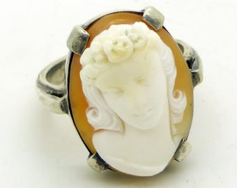 High Relief Sterling Silver Carved Shell Lady Cameo Ring, Size 6