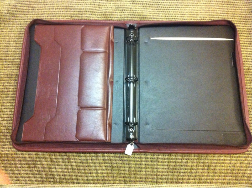 Portfolio Aurex Faux Leather 3 Ring Binder Zippered Brown