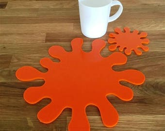 Splash Shaped Placemats or Placemats & Coasters - in Orange Gloss Finish Acrylic 3mm