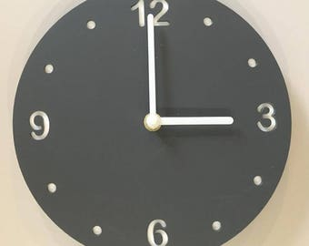 """Round Graphite Grey & White Clock - White Acrylic Back, Mat Finish Acrylic with White hands, Silent Sweep Movement.  Sizes 8"""" or 12"""""""