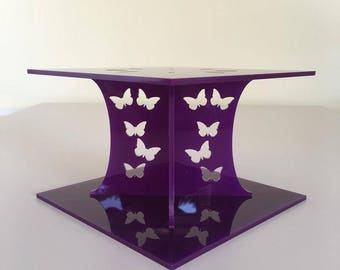 """Butterfly Square Purple Gloss Acrylic Cake Pillars/Cake Separators, for Wedding/Party Cakes 10cm 4"""" High, Size 6"""" 7"""" 8"""" 9"""" 10"""" 11"""" 12"""""""
