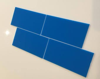 "Bright Blue Gloss Acrylic Rectangle Crafting Mosaic & Wall Tiles, Sizes: 1cm to 25cm -  1"" to 10"""
