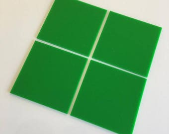 "Bright Green Gloss Acrylic Square Crafting Mosaic & Wall Tiles, Sizes: 1cm to 20cm - 1"" to 7.9"""