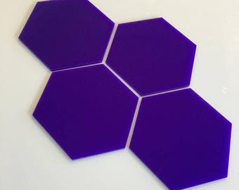 "Purple Gloss Acrylic Hexagon Crafting Mosaic & Wall Tiles, Sizes: 1cm to 20cm - 1"" to 7.9"""