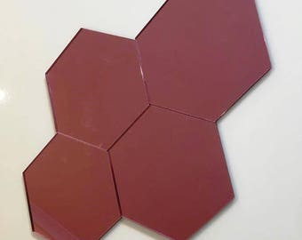 "Pink Mirrored Acrylic Hexagon Crafting Mosaic & Wall Tiles, Sizes: 1cm to 20cm - 1"" to 7.9"""