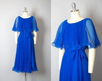 Vintage 1970s Dress | 70s MISS ELLIETTE Blue Chiffon Accordion Pleated Ruffled Party Dress (small)