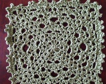 Small Square Green doily, handmade crochet