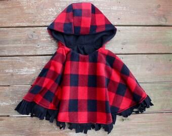 Hooded Fleece Poncho - Toddler Poncho - Fringed Poncho - Poncho with Hood - Plaid Fleece - Fleece Lined Poncho