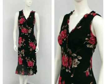 Vintage 90s Grunge Black Floral Dress, Midi Dress, Chiffon Dress, Bias Cut Dress, Ruffle Dress, Sleeveless Summer Dress, Casual Dress
