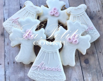 Christening / First Communion / Baptism Cross and Dress sugar cookies (1 Dozen)