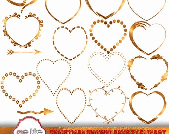 GOLD HEARTS Clip Art Love Clipart, Instant Download, Heart Clipart Valentine's Day Hearts Scrapbooking Hearts Graphics Commercial Use PNG