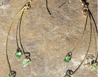 Gold Wire with Green Stone Beads