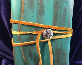 Medieval Leather Journal, Vintage Patina Leather Journal, Turquoise Journal, Spell Grimoire, Weathered Book, Wiccan Journal, 6x9 Blank Book