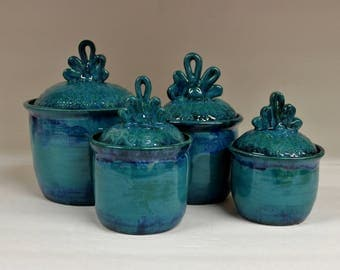 Wild Blue Fire Lace Compact Kitchen Canister Set, Handmade Ceramic Stoneware Pottery
