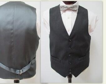 Men's Suit Vest, Charcoal Gray Vest, Mens Vest, Gray Vest, Gentlemans vest, Wool Blend Vest, Men's Vest