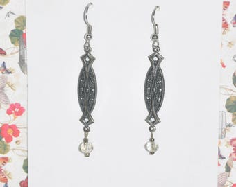 Earrings Silver Filigree Victorian Gothic Vintage Clear Crystal #B01b