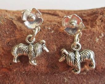 Sheltie Poppy Earrings - Sterling Silver Mini - Post Earrings