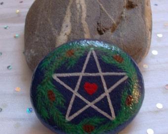 SALE: Yule Altar Stone Pentacle/Pentagram ~ Yule Tree Ornament