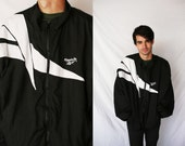 REEBOK Windbreaker 80s Black White Light Weight Zip Up Jacket Active Wear Monochrome 1980s Retro Hipster Extra Large XL